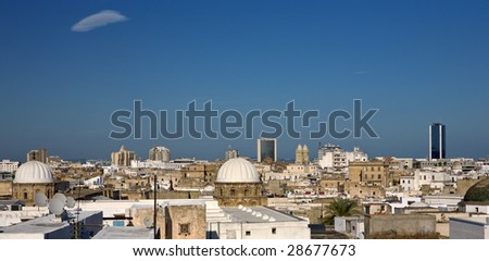 Tunisia. Tunis - old town (medina) seen from roof top