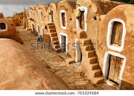 Tunisian Granery. Old ruins of a building, Ksar Ouled Debbab, Tataouine, Tunisia. Starwars film shooting place