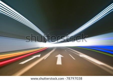 tunnel background with light trails