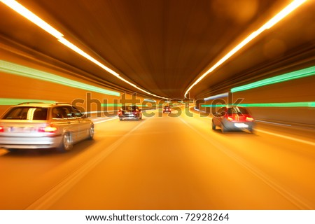 tunnel car motion blur night traffic fast