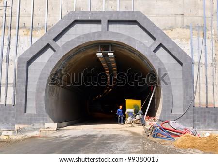 Tunnel construction stock photo