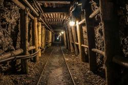 Tunnel in a historic coal mine.