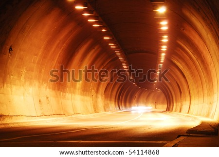 tunnel in night