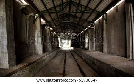 tunnel in the factory with railway track