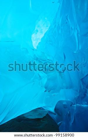 Tunnel in the ice inside Aletsch glacier , Switzerland