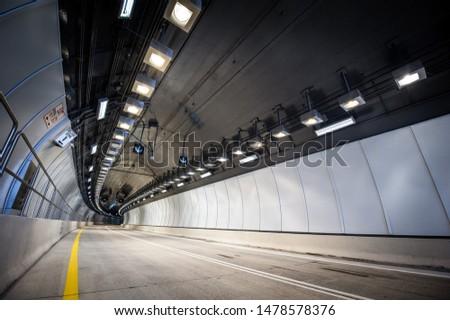 Tunnel Light Road on highway stock photo