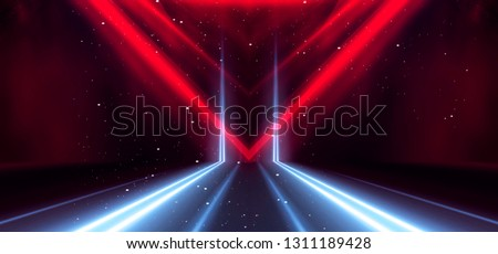 Tunnel neon light, underground passage. Abstract red background. Background black empty with neon light. Abstract background with lines and glow