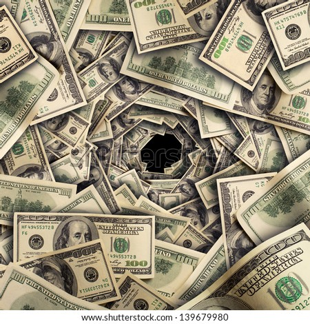 Tunnel of $100 dollar bills