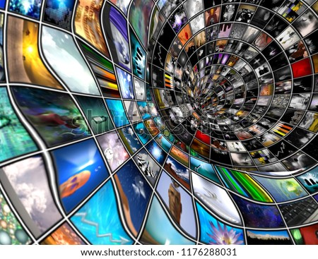Tunnel of media screens with different pictures. 3D rendering