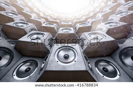 Tunnel of the audio speakers