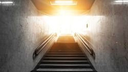 Tunnel, stairs up, sunlight