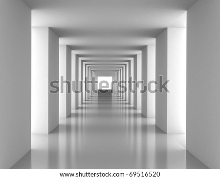 Tunnel with white wall. Computer generated image