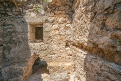 Tunnels and stairs of Alara Castle, which had the function to safeguard the caravans from holdup robberies that were stopping over at the last caravanserai Alarahan on the Silk Road, Antalya