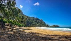 Tunnels Beach (Makua Beach) on the Hawaiian island of Kauai, USA