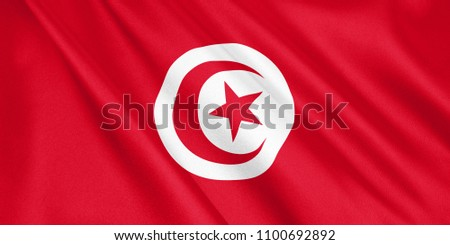 Tunusia flag waving with the wind, wide format, 3D illustration. 3D rendering. Foto stock ©