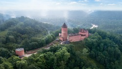 Turaida Castle of Sigulda. Castle Of The Livonian Order In Sigulda. Flat lay of the most beautiful Latvian landmark. Sigulda - one of the most popular tourist destination in Latvia.