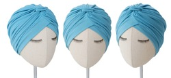 Turban hat with arabic hat style on mannequin head with hair accessories isolated headpiece. This turban fashion is very elegance, stylish, and modern. Indian hat with beautiful and casual design.
