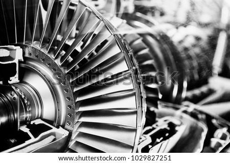 Turbine Engine Profile.  Aviation Technologies. Aircraft jet engine detail in the exposition #1029827251