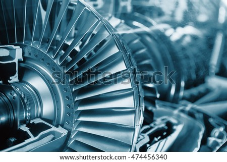 Turbine Engine Profile.  Aviation Technologies. Aircraft jet engine detail in the exposition. Blue colored.