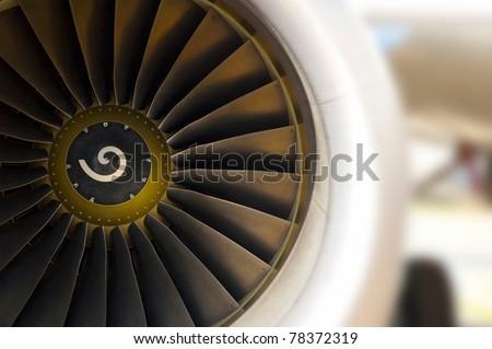 Turbine of airplane, closeup