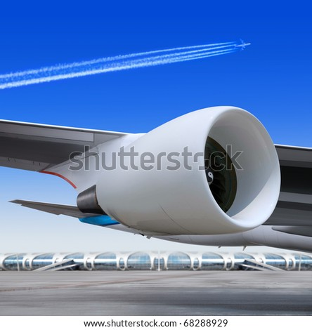 turbine of big passenger plane that waiting for departure in airport