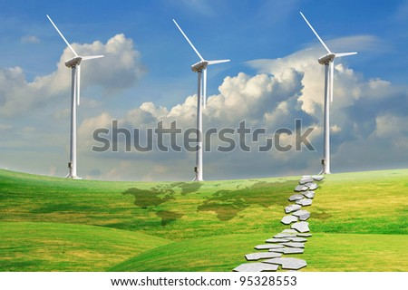 Turbine Power Generator On Grass Field Under The Blue Sky