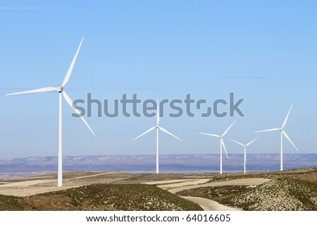 turbines for electricity on a clear day