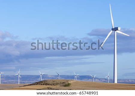 turbines for electricity production with blue sky