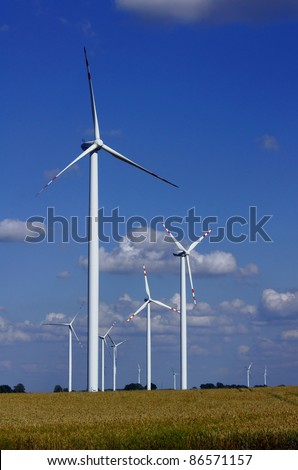turbines in wind farm, Poland