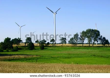 turbines in wind farm, Poland