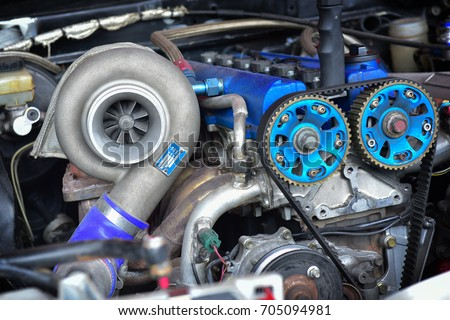 Photo of  Turbo charger installed on car engine for power booster torque drive