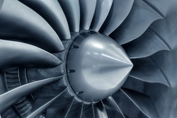 Turbo-jet engine of the plane, close up
