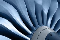 Turbo-jet engine of the plane, close up