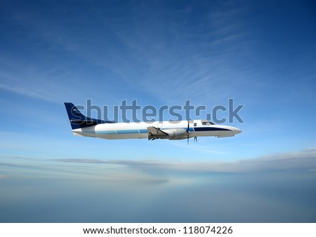 Turboprop airplane at high altitude