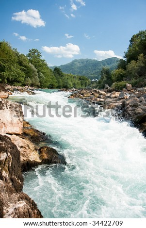 Turbulent rafting water of Neretva river, Bosnia and Herzegovina