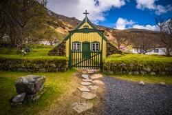 Turf church in the town of Hof, Iceland