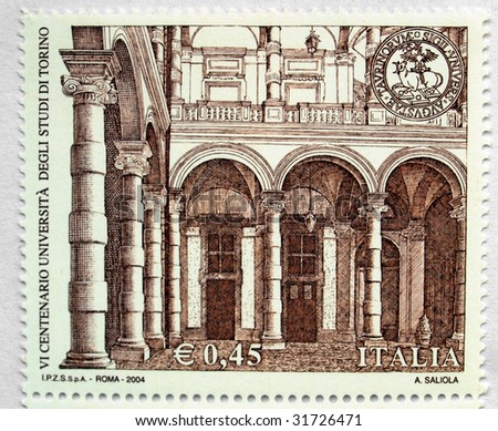 TURIN, CIRCA 2004 - the 600th anniversary of the foundation of  the University of Turin (Università degli Studi di Torino) is celebrated with a mail stamp, in Turin, circa 2004