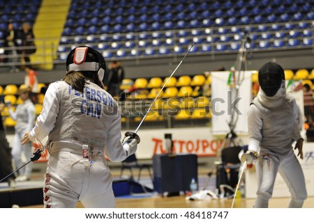 TURIN, FEB 6: Women Foil World Cup, fencer PETERSON Monica (Canada) stands on ward during tournament on  February 6, 2010 in Turin, Italy.