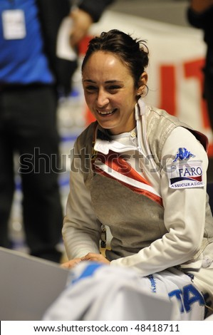 TURIN, FEB 6: Women Foil World Cup, fencer SALVATORI Ilaria (Italy) stands during break on tournament on  February 6, 2010 in Turin, Italy.