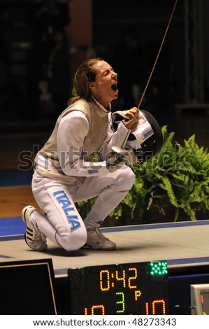 TURIN - FEB 6: Women Foil World Cup, fencer Valentina VEZZALI (Italy) winner of the final match against NAM Hyun Hee (Korea) on  February 6, 2010 in Turin, Italy.