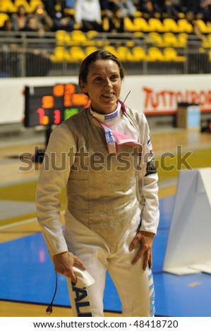 TURIN, FEB 6: Women Foil World Cup, fencer VEZZALI Valentina  (Italy) stands during break on tournament on  February 6, 2010 in Turin, Italy.
