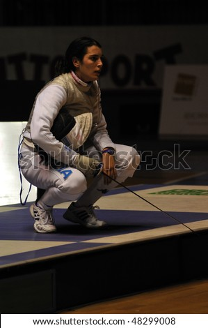 TURIN, FEB 6: Women Foil World Cup, Italian fencer DURANDO Benedetta during semifinal match on  February 6, 2010 in Turin, Italy.