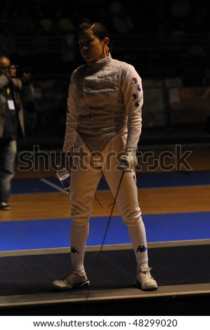 TURIN, FEB 6: Women Foil World Cup, Korean fencer NAM Hyun Hee fight on break during semifinal match on  February 6, 2010 in Turin, Italy.