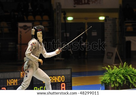 TURIN, FEB 6: Women Foil World Cup, Korean fencer NAM Hyun Hee fight on ward during semifinal match on  February 6, 2010 in Turin, Italy.
