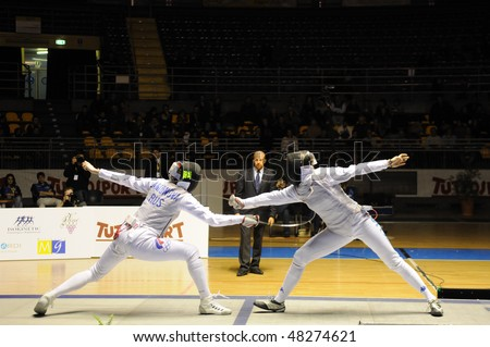 TURIN - FEB 7: Women Foil World Cup, team tournament final match Italy vs Russia on February 7, 2010 in Turin, Italy.