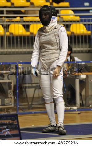 TURIN - FEB  6: Women Foil World Cup, Usa fencer Nicole ROSS on a break during match  on  February 6, 2010 in Turin, Italy.