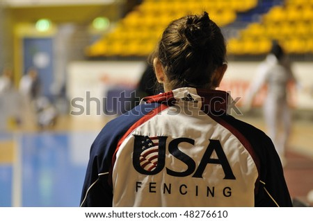 TURIN - FEB 7: Women Foil World Cup, Usa fencer Nicole SCOTT lokking at match of team tournament on  February 7, 2010 in Turin, Italy.