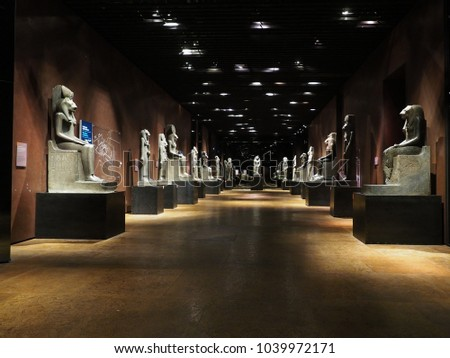 TURIN, ITALY - CIRCA MARCH 2017: Statues of goddess Sekhmet at Museo Egizio (meaning Egyptian Museum) - Shutterstock ID 1039972171