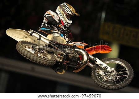 TURIN, ITALY - FEB 03: Hannes Ackermann (GER) performs trick during the 2012 FIM Mx Freestyle World Championship on February 03, 2012 in Turin, Italy.