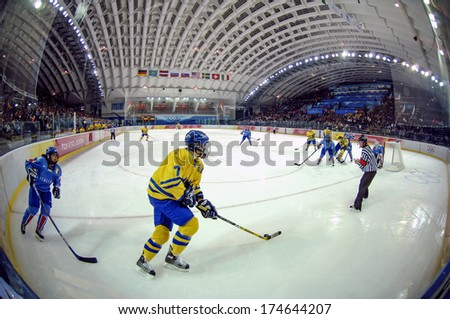 TURIN, ITALY-FEBRUARY 14, 2006: Panoramic view of the ice skating rink during the Female Ice Hockey match Italy vs Sweden, at the Winter Olympic Games of Turin 2006.